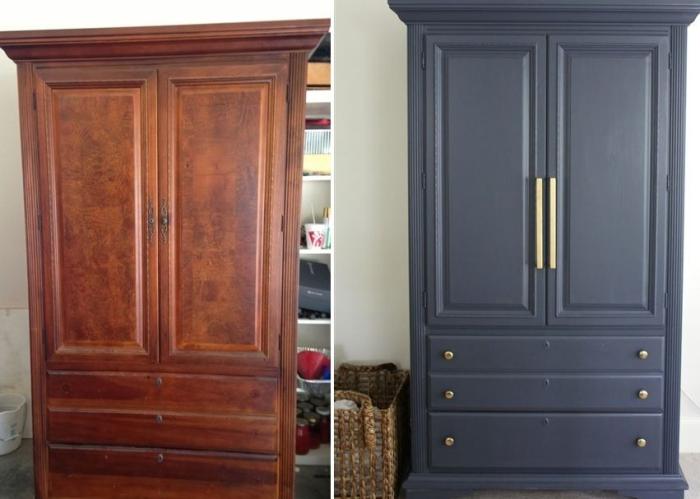 Покраска и реставрация старого шкафа: До и после. \ Фото: kapemvun.info.