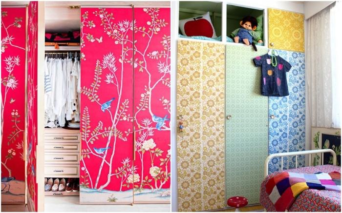 Используйте ткань для декора шкафа. \ Фото: pinterest.com.