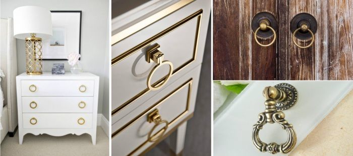 Декоративные ручки для шкафов. \ Фото: fixshop.com.ua.