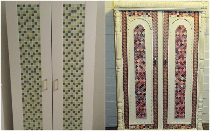 Используйте мозаику, чтобы обновить шкаф. \ Фото: kvartblog.ru.