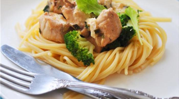 Спагетти с курицей и брокколи. \ Фото: google.ru.