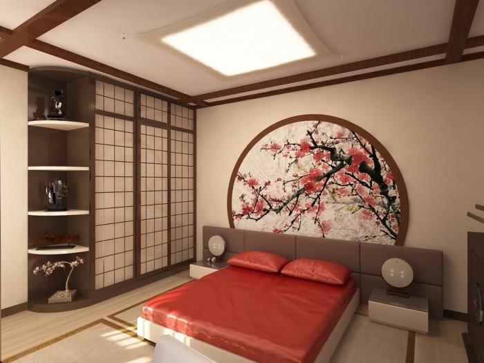 Японский стиль – отличное решение для спальни в стиле минимализм.