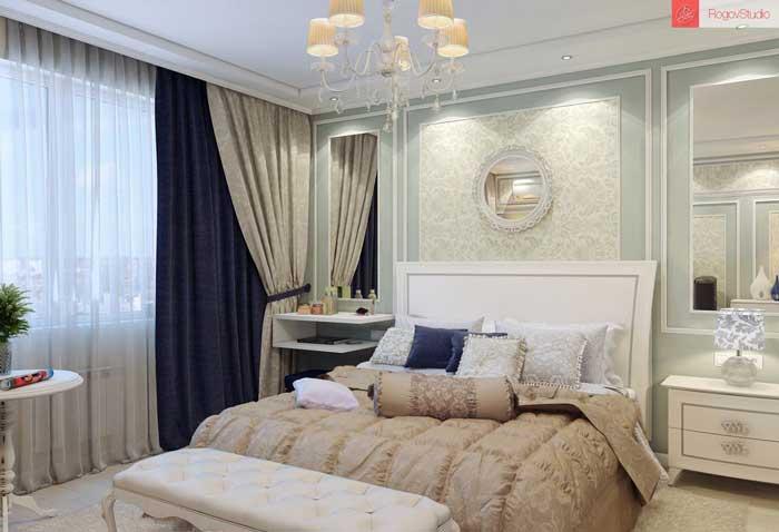 Дизайн небольшой спальни в классическом стиле.