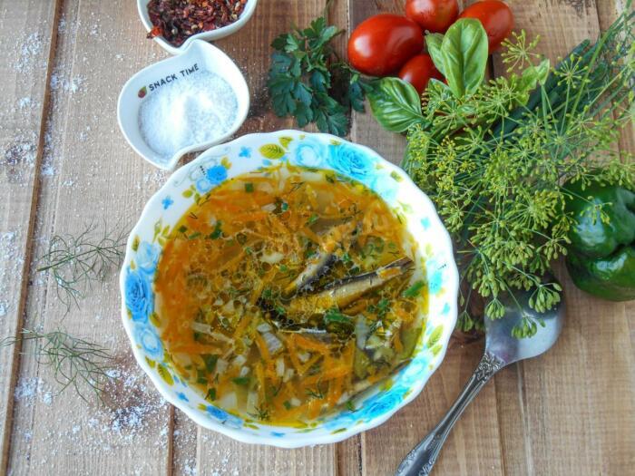 Суп со шпротами. \ Фото: google.com.ua.