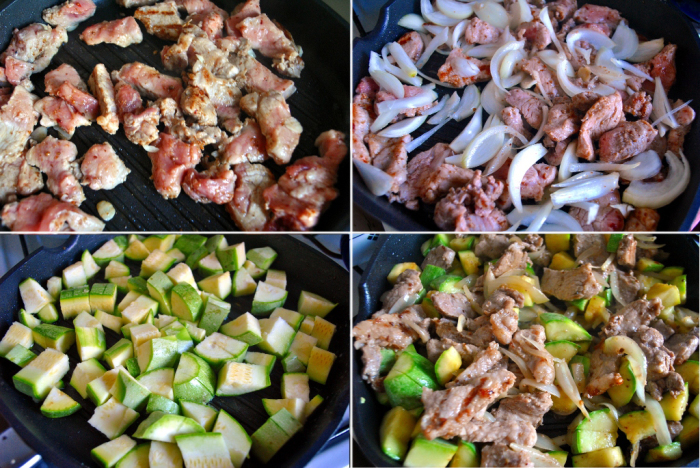 Цукини, оливки и свинина. \ Фото: вкусноиполезно.com.