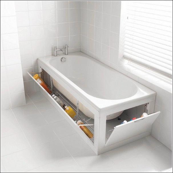 Пространство под ванной — отличное место для хранения. Главное — его правильно оборудовать.