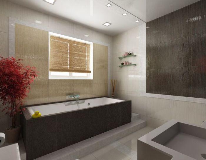 Растения – прекрасное дополнение ванной комнаты.