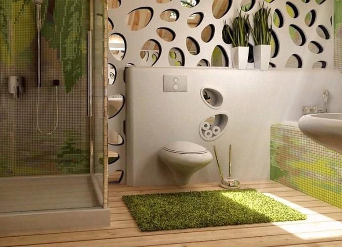Зелёный цвет и имитация травы под ногами - прекрасный эко-дизайн в ванной комнате.