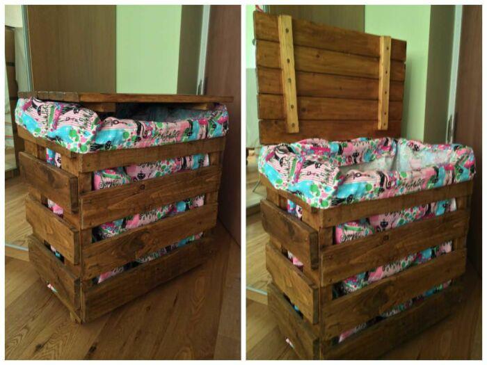 Корзина для белья из деревянных ящиков. \ Фото: 1001pallets.com.