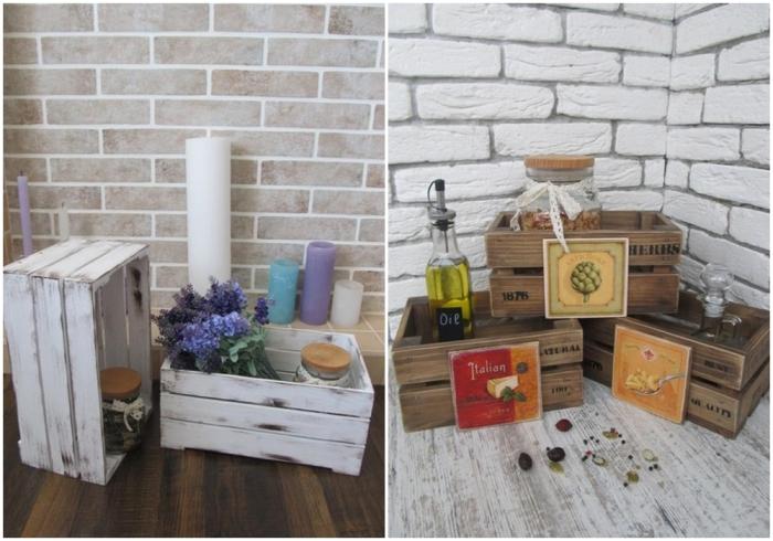 Деревянные ящики в качестве декора. \ Фото: yandex.ua.