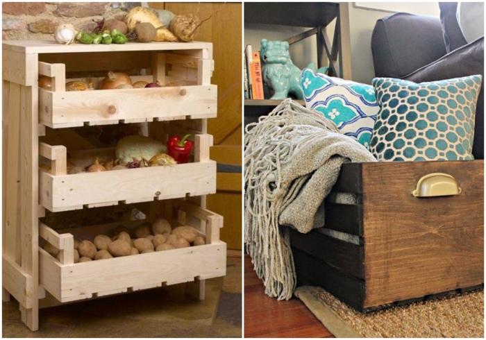 Деревянные ящики для хранения овощей и различных вещей. \ Фото: pinterest.it.