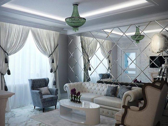 Зеркало визуально умножит красоту в вашей гостиной ровно вдвое.