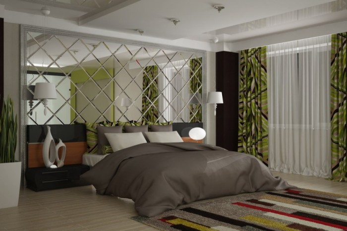 В интерьере спальни рекомендуется не применять зеркальную плитку напротив кровати и на потолке.