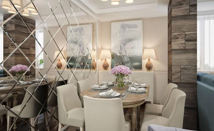 Зеркальная плитка в интерьере хорошо сочетается с обычной, при этом стыки между ними можно закрыть молдингами из гипса или дерева.