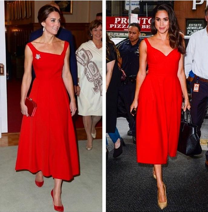Меган Маркл и Кейт Миддлтон в красных платьях.
