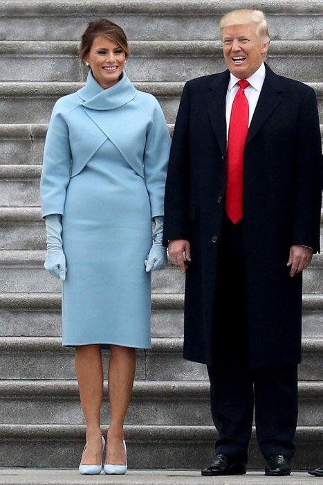 Мелания Трамп на церемонии инаугурации Дональда Трампа.