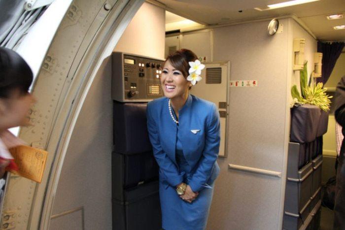 При посадке пассажиров стюардессы оценивают их по внешнему виду.