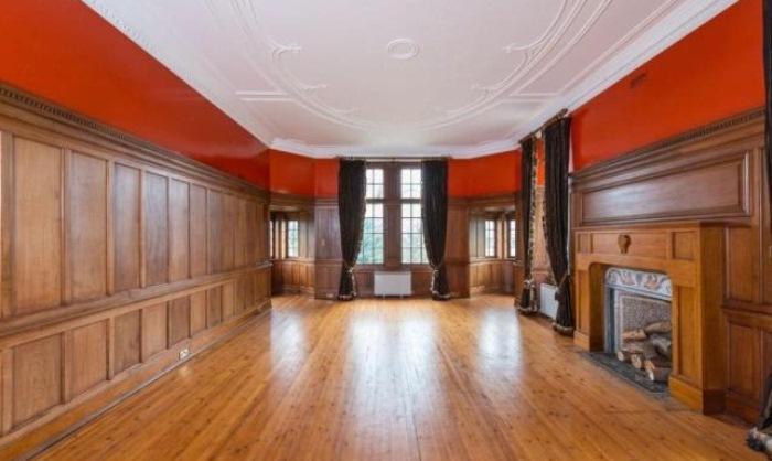 Просторный зал с камином.