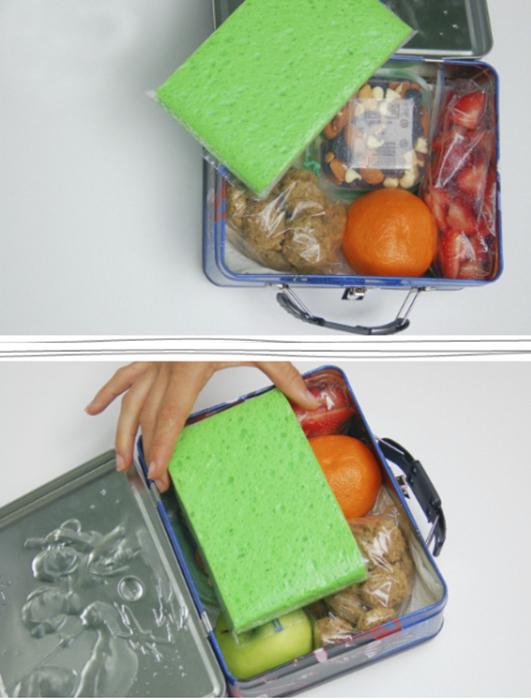 Губка для мытья посуды поможет сохранить свежесть продуктов.
