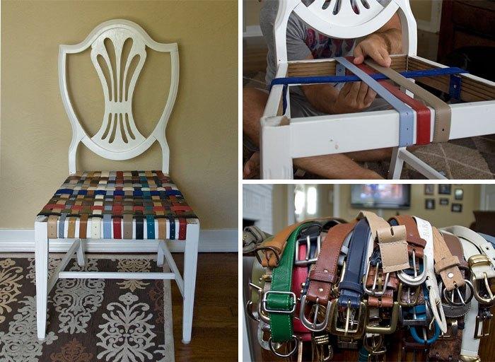 Ремонт старого стула при помощи ремней.
