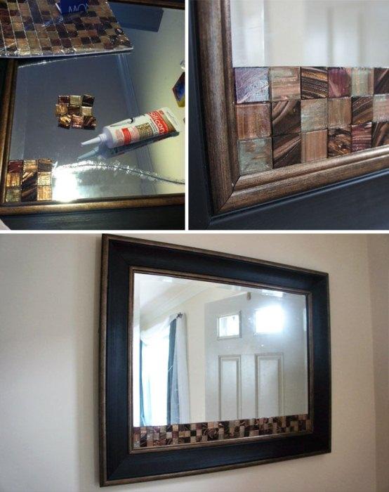 Клей и стеклянная мозаика для декора треснувшего зеркала.