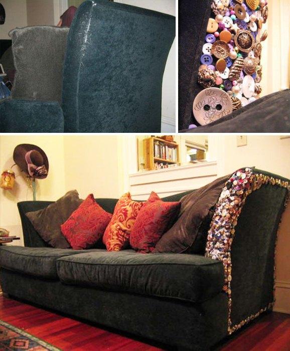 Декор обивки мягкой мебели разноцветными пуговицами.
