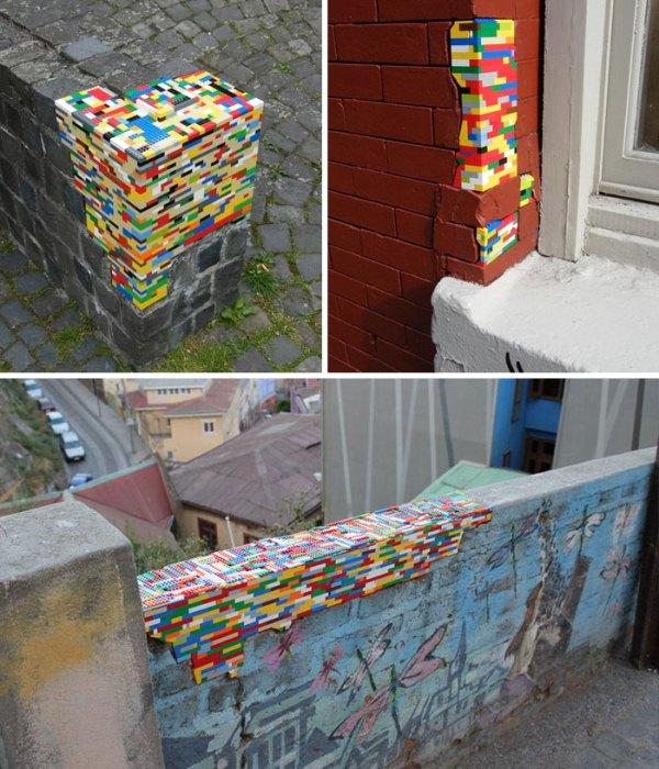 Ремонт разрушающихся стен при помощи кубиков из конструктора.