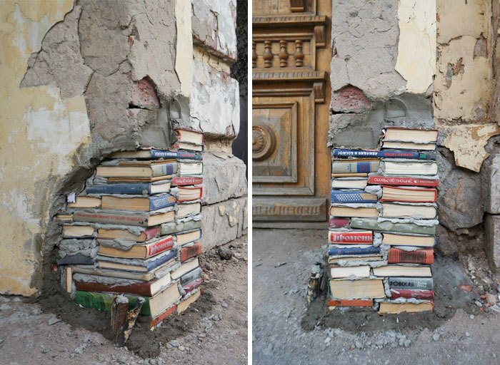 Книги стали частью стен одной из российских библиотек.
