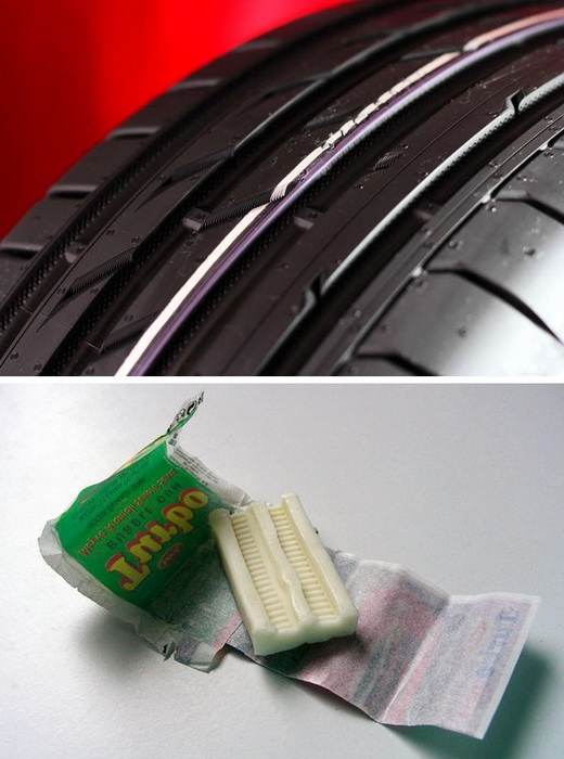 Форма жевательной резинки Turbo повторяет автомобильную шину.