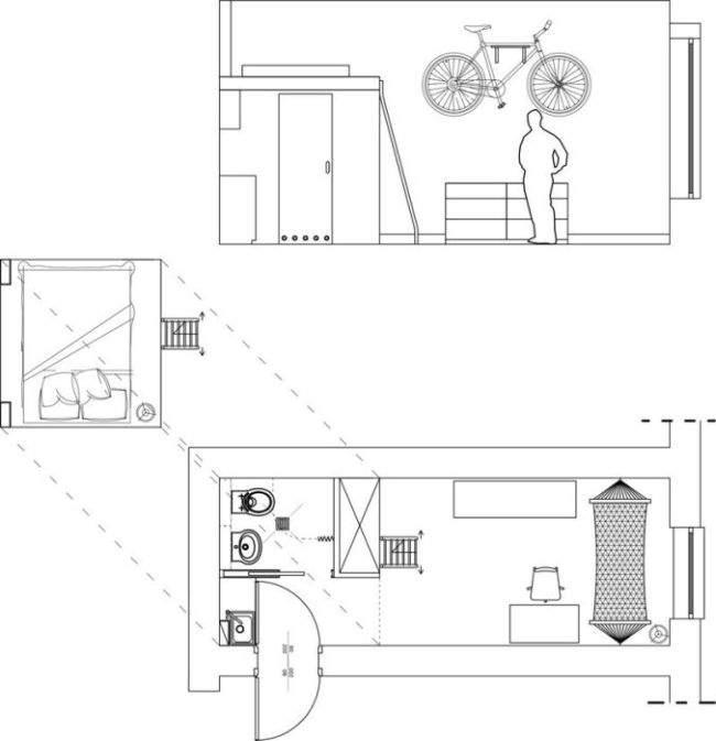 Планировка квартиры площадью 13 кв. метров.