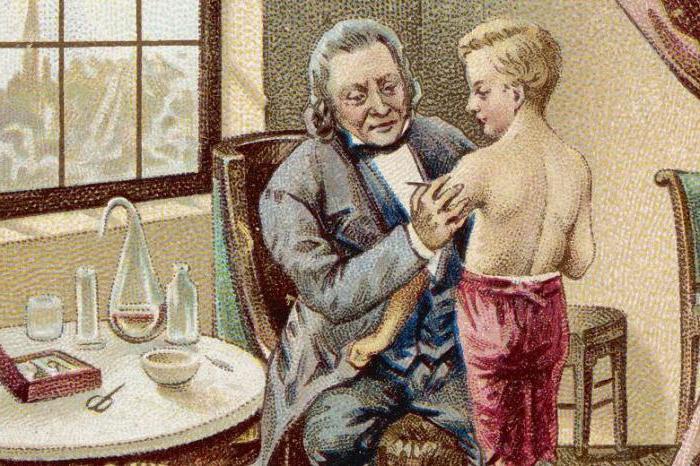 Эдвард Дженнер тестирует вакцину от оспы на собственном сыне.