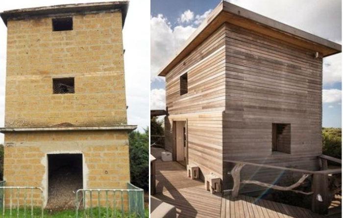 До и после: дом в средневековой башне, которая служила голубятней последние 50 лет.