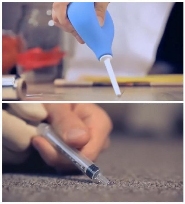 Как правильно собрать ртуть шприцем или медицинской грушей.