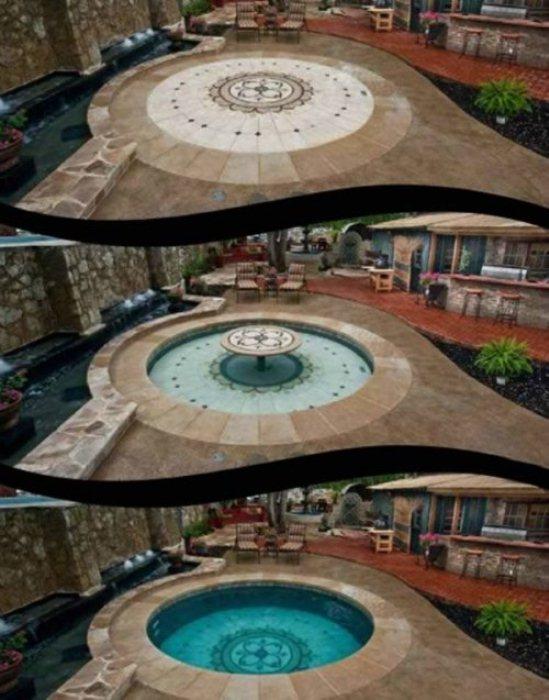 Патио с бассейном.