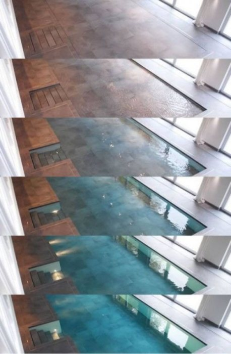 Бассейн под полом с ламинатом.