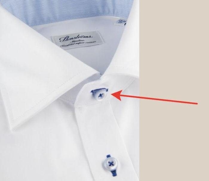 Верхняя петля на рубашке всегда расположена горизонтально.