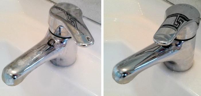 Чистка смесителя: до и после.