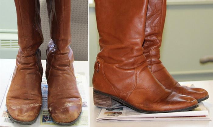 После обработки воском обувь выглядит гораздо лучше.