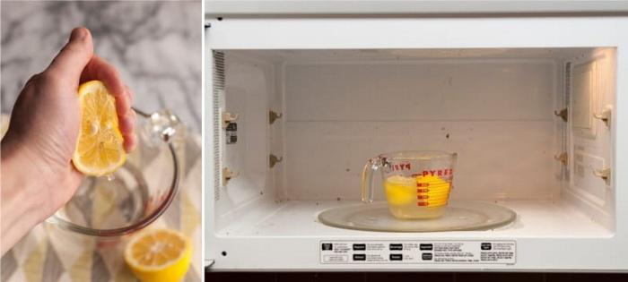 Мытье микроволновки при помощи лимонного сока.