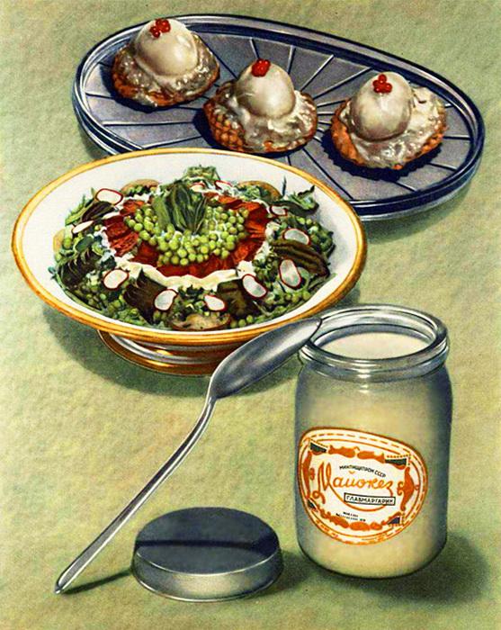 Оливье и фаршированные яйца с майонезом.