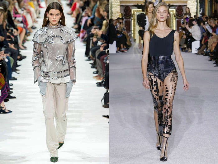 Куртка и юбка из пластика - смелое решение.