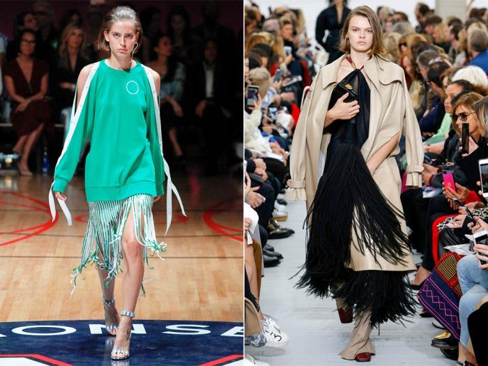 Спортивная туника и длинное платье с бахромой.