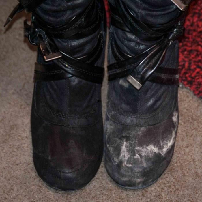 Как отмыть разводы от соли с обуви.