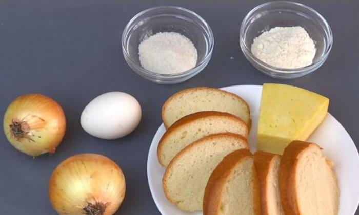 Ингредиенты для приготовления гренок с луковой начинкой.