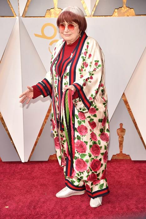 Аньес Варда в халате от Gucci.