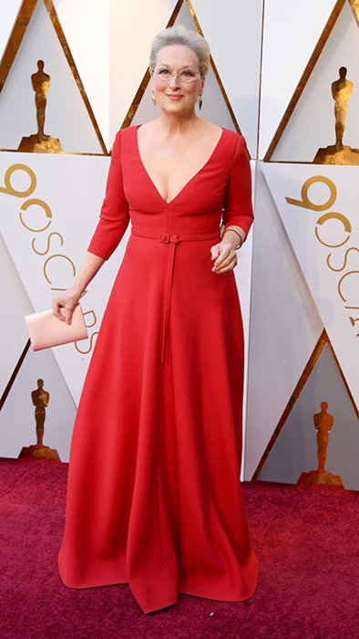 Мэрил Стрип в красном платье от Christian Dior.