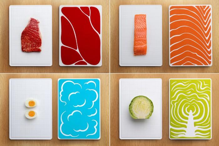 Разделочные доски для разных продуктов.