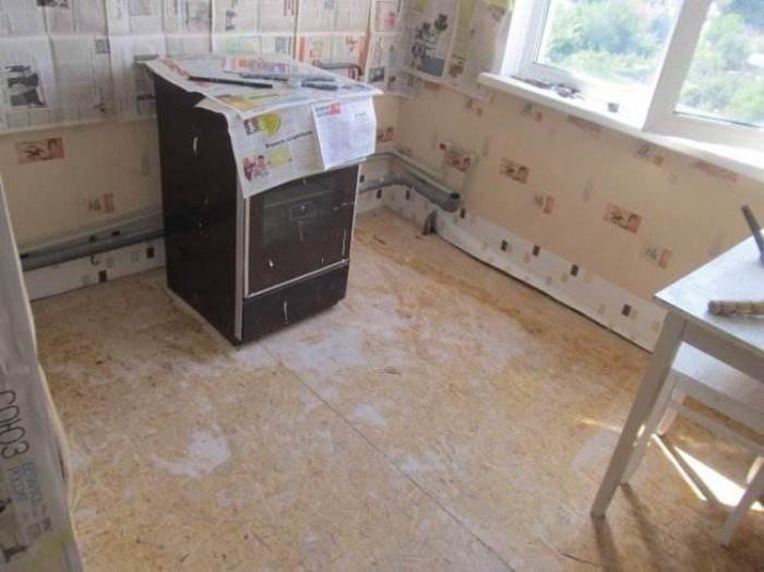 Ремонт пола на кухне в хрущевке.