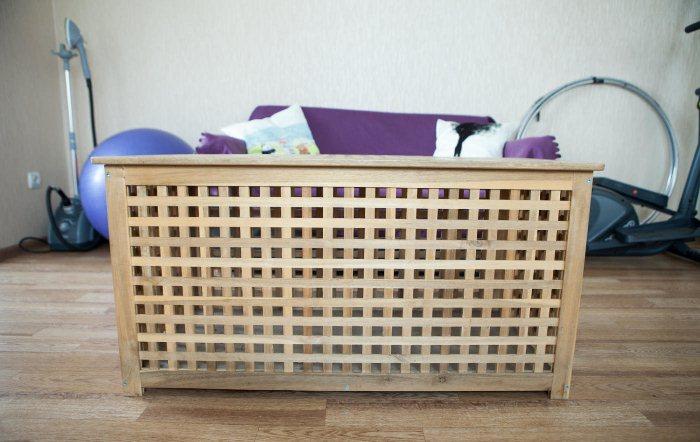 Декоративный ящик, который можно использовать как журнальный стол.