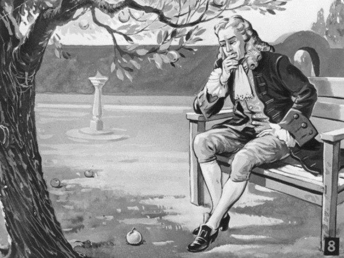 Ньютон вывел закон всемирного тяготения, наблюдая за падающим яблоком.